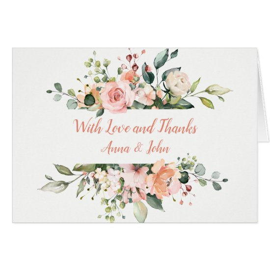 Peach Pink White Floral Frame Wedding Thank You