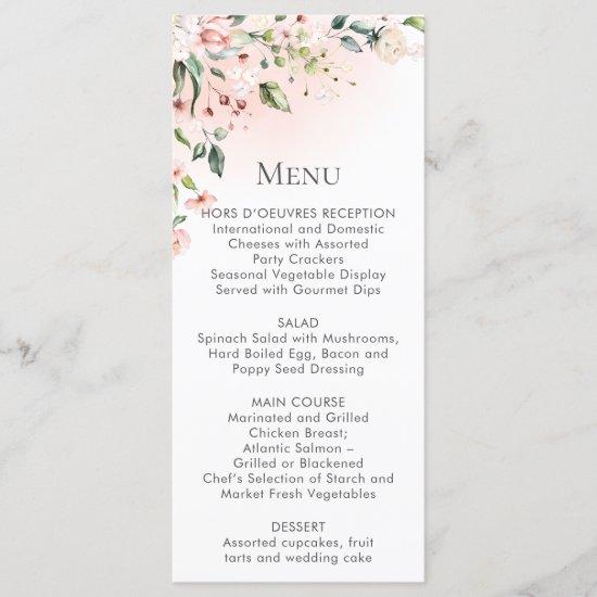 Peach Pink White Floral Menu Rack Cards