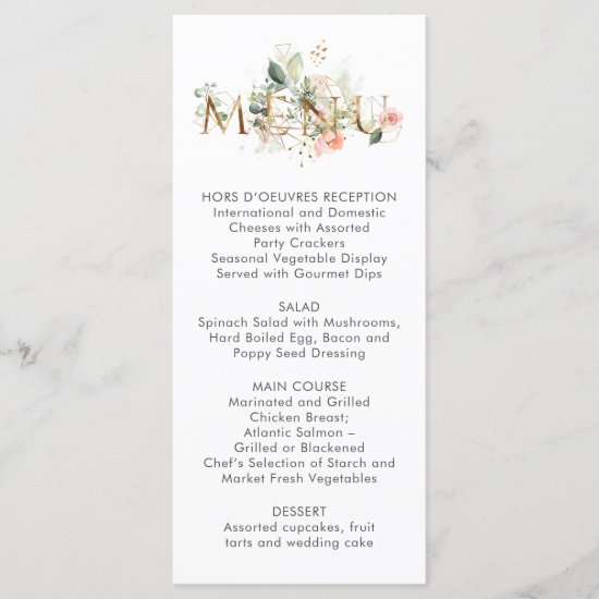 Peach Pink White Floral Stylized Wedding Menu