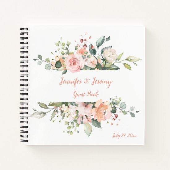 Peach Pink White Green Floral Wedding Guest Book