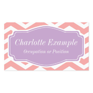 Peach Pink White Purple Chevron Personal Double-Sided Standard Business Cards (Pack Of 100)