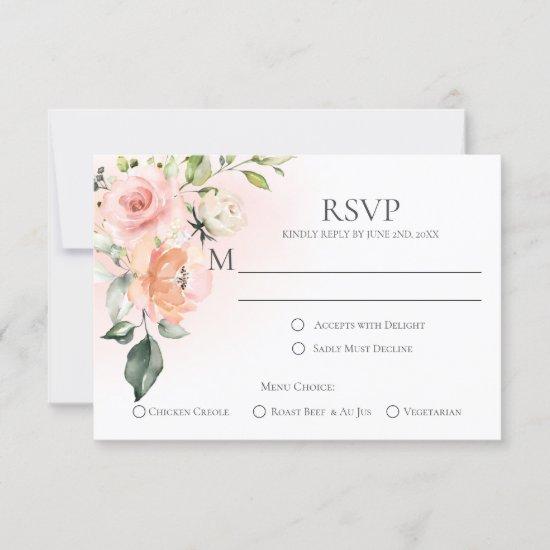 Peach Pink White Roses Menu Choice RSVP Cards