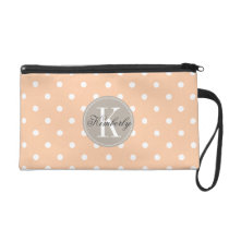 Peach Polka Dot with Taupe Monogram Wristlet Purse