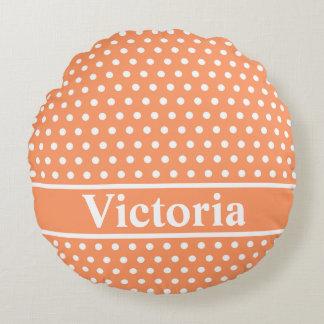 Peach Polka Dots Round Pillow