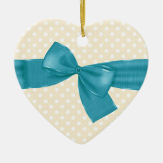 Peach Polka Dots with Teal Ribbon and Bow Gift Set Ceramic Ornament