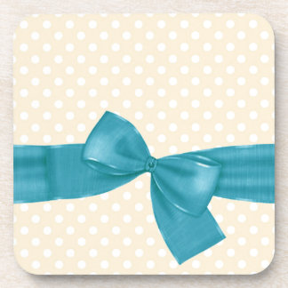 Peach Polka Dots with Teal Ribbon and Bow Gift Set Drink Coaster