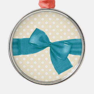Peach Polka Dots with Teal Ribbon and Bow Gift Set Metal Ornament