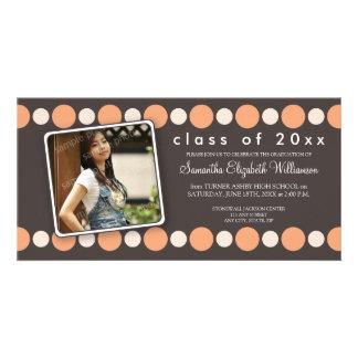 Peach Polkadots Custom Graduation Announcement Photo Card