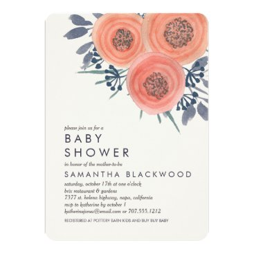 Toddler & Baby themed Peach Poppies Floral Baby Shower Invitation