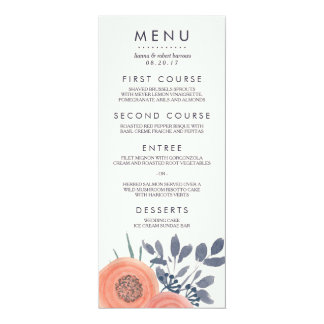Peach Poppies Wedding Menu Card