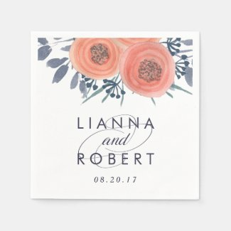 Peach Poppies Wedding Paper Napkin