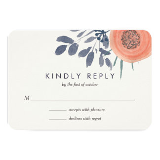 Peach Poppies Wedding RSVP Response Card