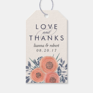 Peach Poppies Wedding Thank You Favor Gift Tags