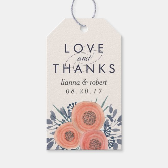 Wedding Thank You Gift Tags: Peach Poppies Wedding Thank You Favor Gift Tags