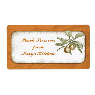 Peach Preserves Food Storage Botanical Custom Label