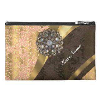 Peach pretty feminine vintage damask pattern travel accessory bag