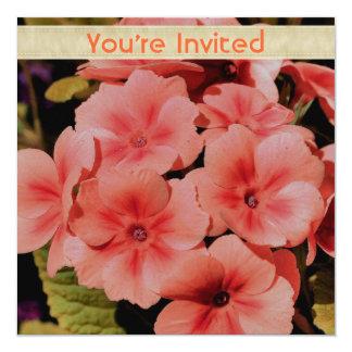 """Peach Primrose Flowers Square Invitation 5.25"""" Square Invitation Card"""