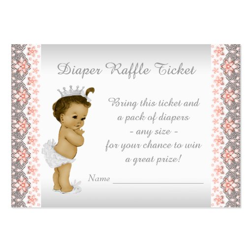 Peach Princess Diaper Raffle Ticket Business Card Templates | Zazzle