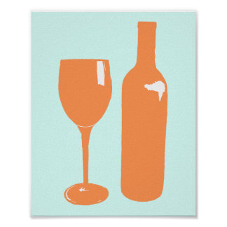 Peach Print for Wine Lovers | Poster