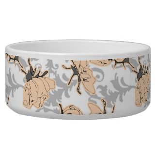 Peach Puff and Gray Vintage Floral Pattern Bowl