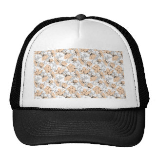 Peach Puff and Gray Vintage Floral Pattern Mesh Hats