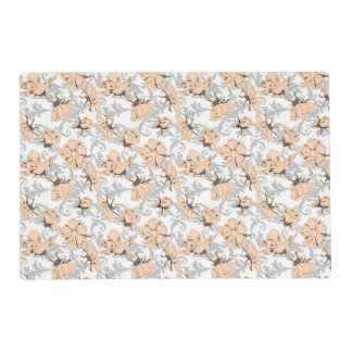 Peach Puff and Gray Vintage Floral Pattern Laminated Place Mat