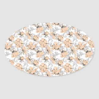 Peach Puff and Gray Vintage Floral Pattern Oval Sticker