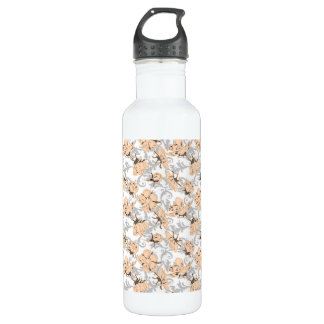 Peach Puff and Gray Vintage Floral Pattern Stainless Steel Water Bottle