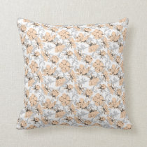 Peach Puff and Gray Vintage Floral Pattern Throw Pillow