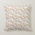 Peach Puff and Gray Vintage Floral Pattern Throw Pillows