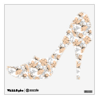Peach Puff and Gray Vintage Floral Pattern Wall Decal