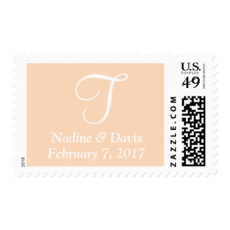 Peach Puff Date Monogrammed Weddings Postage Stamps