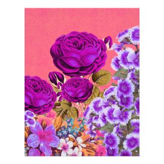 Peach Purple Abstract Rose Garden Letterhead