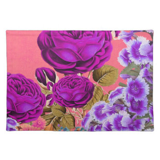 Peach Purple Abstract Rose Garden Placemat