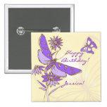 Peach Purple Butterfly Button