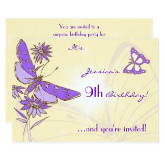 Peach Purple Butterfly Invitation Card