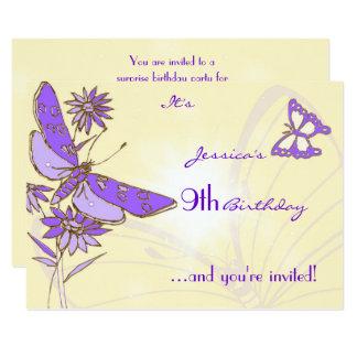 Peach Purple Butterfly RSVP Card