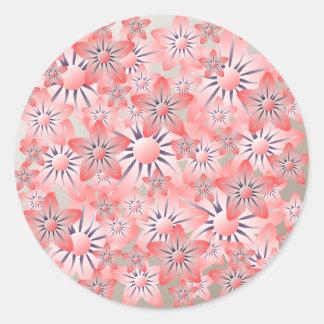 Peach Purple Cream Floral Round Sticker