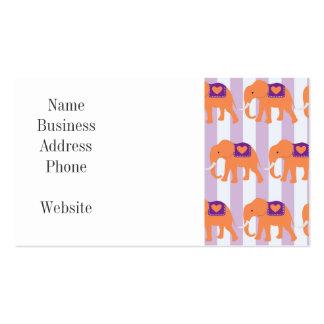 Peach Purple Elephants Hearts on Purple Stripes Business Card