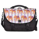 Peach Purple Elephants Hearts on Purple Stripes Computer Bag