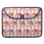Peach Purple Elephants Hearts on Purple Stripes Sleeves For MacBook Pro