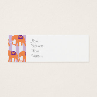Peach Purple Elephants Hearts on Purple Stripes Mini Business Card