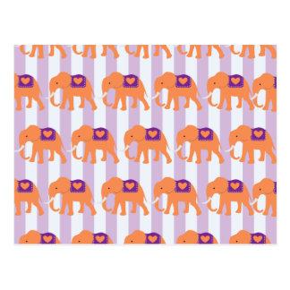 Peach Purple Elephants Hearts on Purple Stripes Postcard