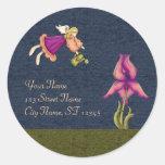 Peach & Purple Iris Classic Round Sticker