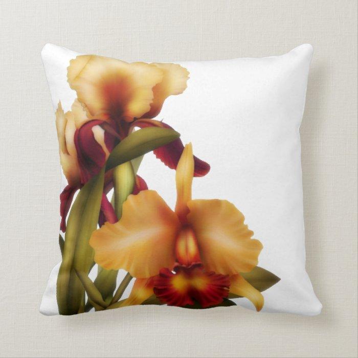 Peach & Purple Iris Throw Pillow
