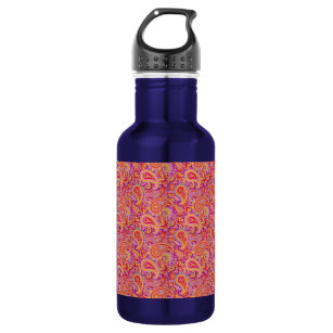 Peach & Purple Paisley Water Bottle