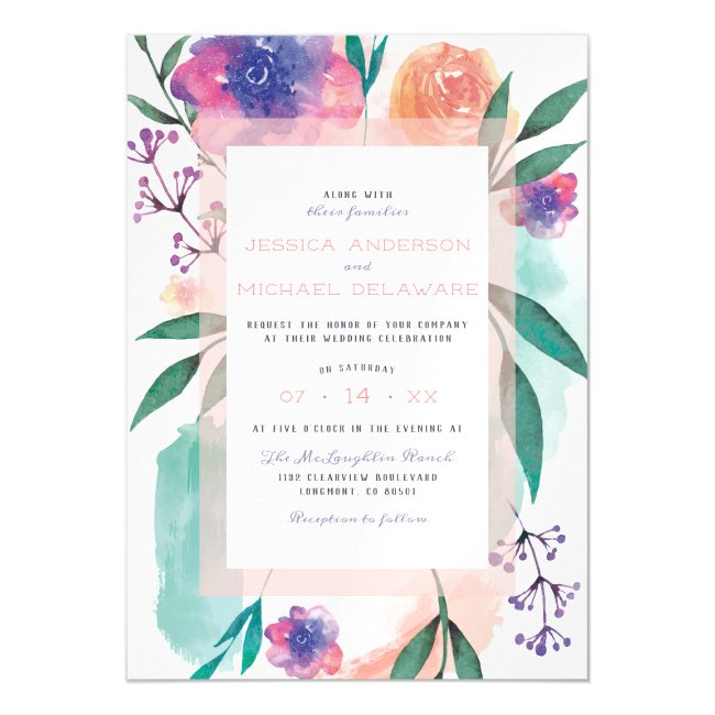 Peach & Purple Watercolor Blooms Floral Wedding Magnetic Invitation
