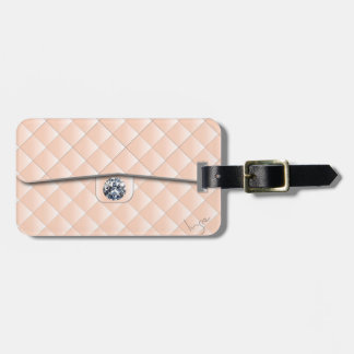 Peach Quilted Pattern with a Diamond Bag Tag