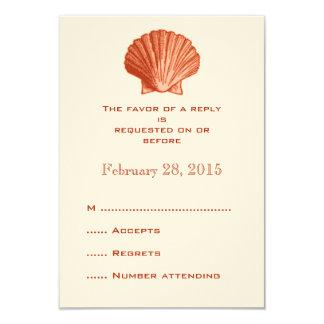 Peach Rattan Seashell Wedding Reply RSVP Cards