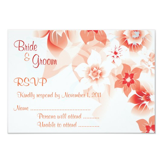 Peach & Red Flowers Wedding Invite - RSVP Card